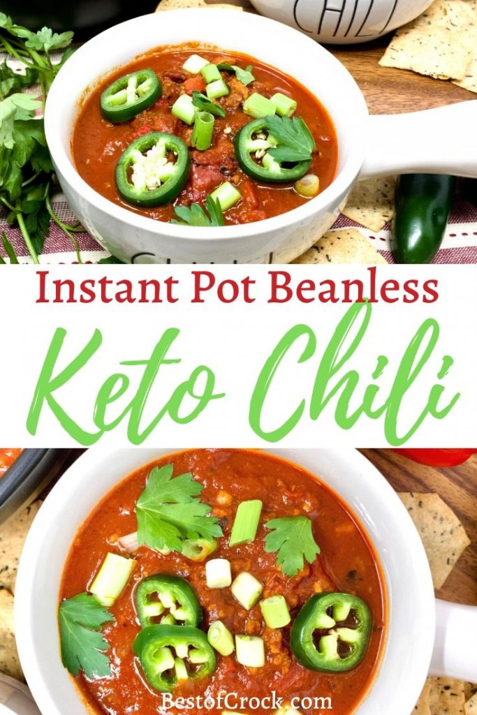 There are many ways to make chili but the best might be the beanless Instant Pot ketogenic chili that is perfect for any low carb diet. Instant Pot Chili Recipe | Low Carb Chili Recipe | Keto Chili Recipe | Low Carb Beef Chili | Low Carb Pork Chili | Keto Instant Pot Recipe #keto #instantpot