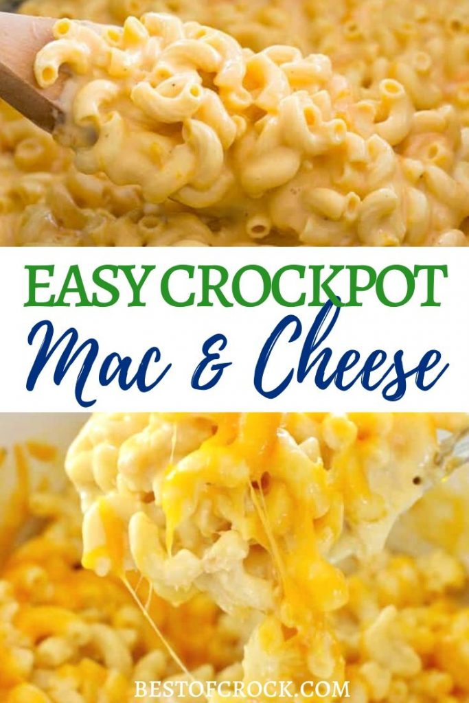 The best Crock Pot mac and cheese recipes are easy to make and any serious lover of crock pot recipes is sure to enjoy them.  Crockpot Mac and Cheese Recipes | Easy Dinner Recipes | Make Ahead Lunch Recipes | Slow Cooker Macaroni and Cheese | Slow Cooker Dinner Recipes | Slow Cooker Side Dish Recipes  | Recipes for Kids #crockpot #macandcheese