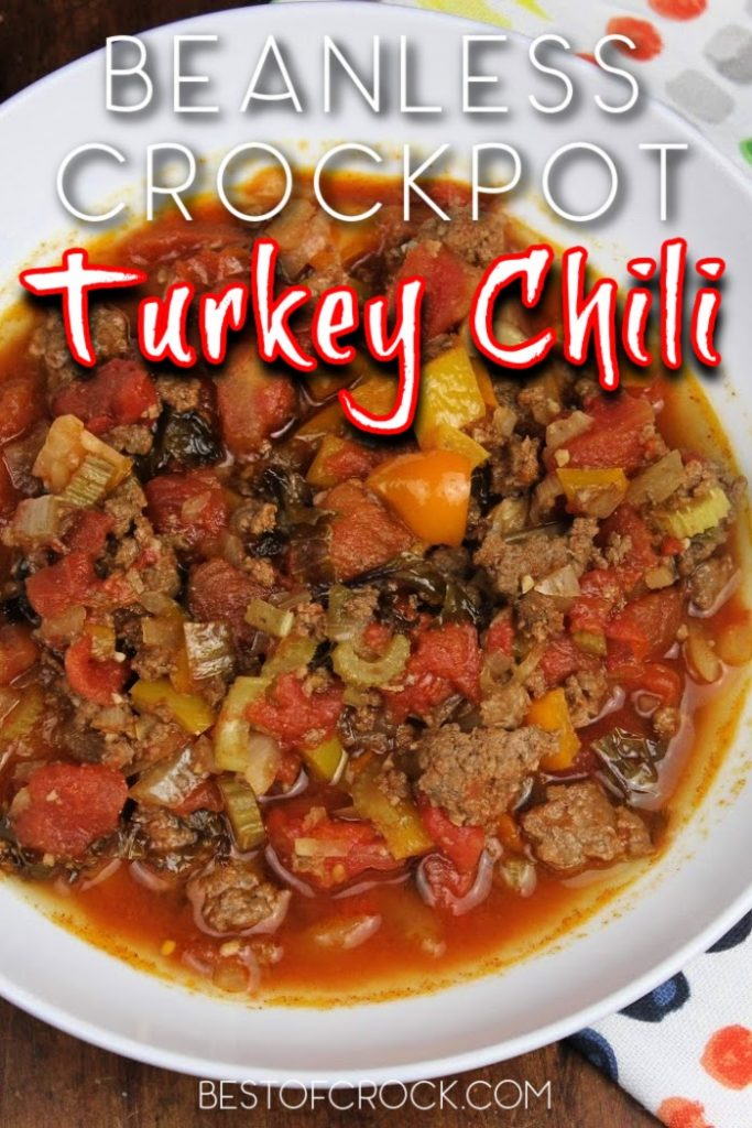 You can easily make the best crockpot turkey chili without beans and it will become a family-favorite crockpot recipe for lunch or dinner. Crockpot Turkey Chili No Beans | Crockpot Recipes for Two | Easy Slow Cooker Recipes | Crockpot Soup Recipes | Crockpot Dinner Recipes #chili #crockpotrecipes #slowcookerrecipes