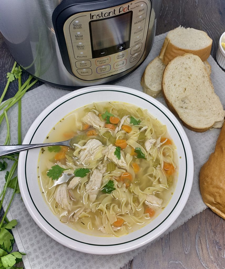 Instant pot chicken noodle soup is easy to make and a comfort food everyone enjoys any time of the year. Homemade Chicken Noodle Soup Recipe | Chicken Noodle Soup Instant Pot | Healthy Chicken Noodle Soup Recipe | Chicken Noodle Soup from Scratch | Creamy Chicken Noodle Soup Recipe | Homemade Chicken Soup Recipe from Scratch