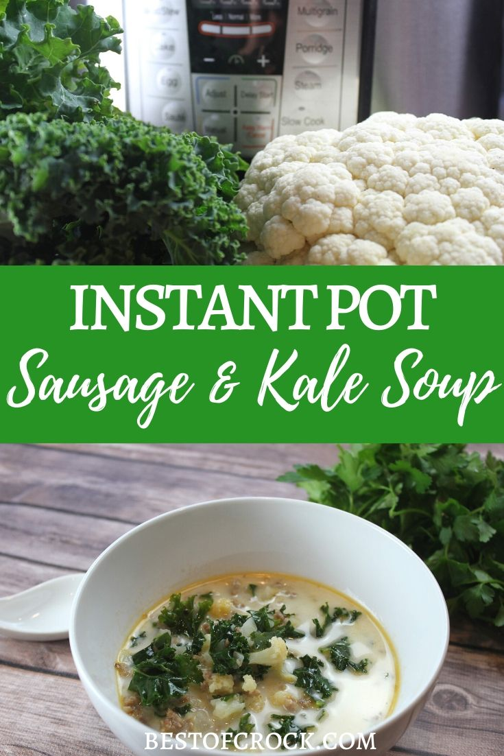 The instant pot adds so much flavor to soups through its cooking process! This instant pot sausage and kale soup recipe is easy to make and perfect for meal planning. Healthy Instant Pot Recipes | Healthy Dinner Recipes | Easy Soup Recipes | Instant Pot Kale Recipes | Instant Pot Sausage Recipes | Pressure Cooker Soup Recipes #InstantPot #soup via @bestofcrock