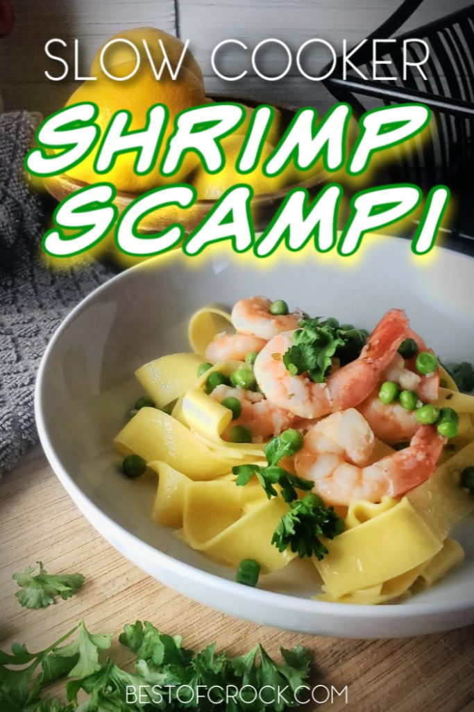 This slow cooker shrimp scampi recipe will be an immediate favorite for your family and friends and it requires minimal effort! Crockpot Seafood Recipes | Crockpot Shrimp Recipe | Crockpot Pasta Recipe | Slow Cooker Pasta #slowcooker #pasta