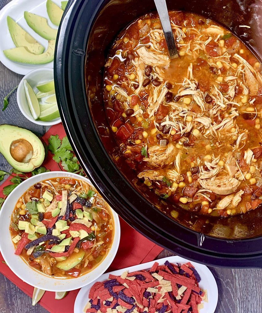 Crockpot chicken tortilla soup a delicious and easy homemade soup recipe!  Add it to your meal prep for the week; this recipe also scales easily for larger groups! Slow Cooker Chicken Tortilla Soup | Rotisserie Chicken Tortilla Soup Slow Cooker | Creamy Chicken Tortilla Soup Slow Cooker | Healthy Chicken Tortilla Soup Slow Cooker | Crockpot Tortilla Soup