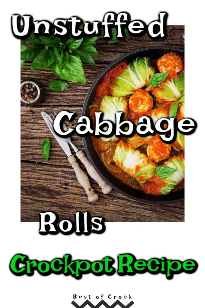 Crockpots make enjoying unstuffed cabbage rolls so much easier. This is an easy crockpot recipe that provides a healthy dinner for the whole family. Healthy Crockpot Recipes | Family Dinner Recipes | Crockpot Cabbage Recipes | Healthy Cabbage Recipes | Crockpot Lunch Recipes | Party Recipes | Crockpot Recipes for a Crowd #crockpot #healthy