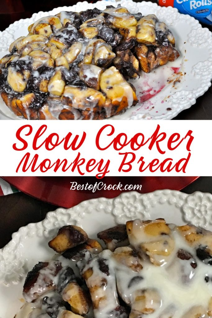 This slow cooker monkey bread recipe is perfect as a crockpot dessert or even a crockpot breakfast. Plus, it is an easy recipe you can make with children, too! Slow Cooker Breakfast Recipes | Holiday Crockpot Recipes | Dessert Recipes for Brunch | Brunch Recipes | Crockpot Brunch Recipes #breakfast #slowcooker