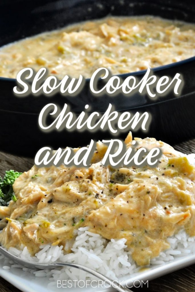 Slow cooker chicken and rice an easy crockpot recipe that will help with meal planning so you can save time in the kitchen and serve a meal everyone enjoys. Chicken and Rice Soup | Chicken and Rice Casserole Crockpot | Slow Cooker Chicken Recipes | Crockpot Recipes with Chicken | Healthy Chicken Recipe | Chicken and Canned Soup Recipes | Healthy Crockpot Recipes #crockpot #chicken
