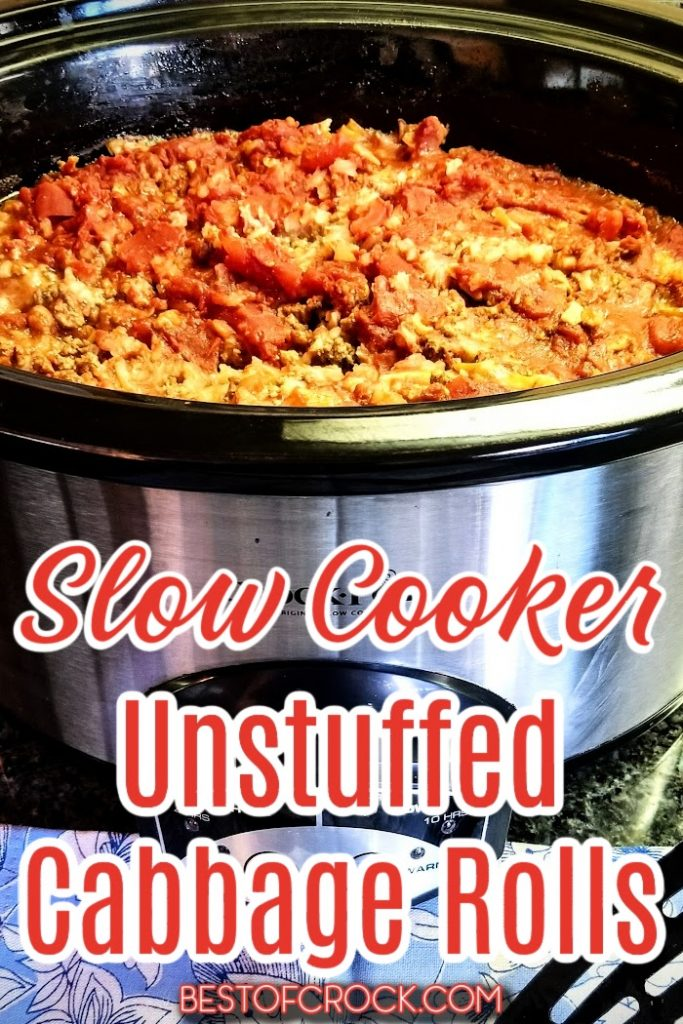 Crockpots make enjoying unstuffed cabbage rolls so much easier. This is an easy crockpot recipe that provides a healthy dinner for the whole family. Healthy Crockpot Recipes | Family Dinner Recipes | Crockpot Cabbage Recipes | Healthy Cabbage Recipes | Crockpot Lunch Recipes | Party Recipes | Crockpot Recipes for a Crowd | Recipes with Cabbage | Vegetable Recipes #crockpotrecipes #healthyrecipes