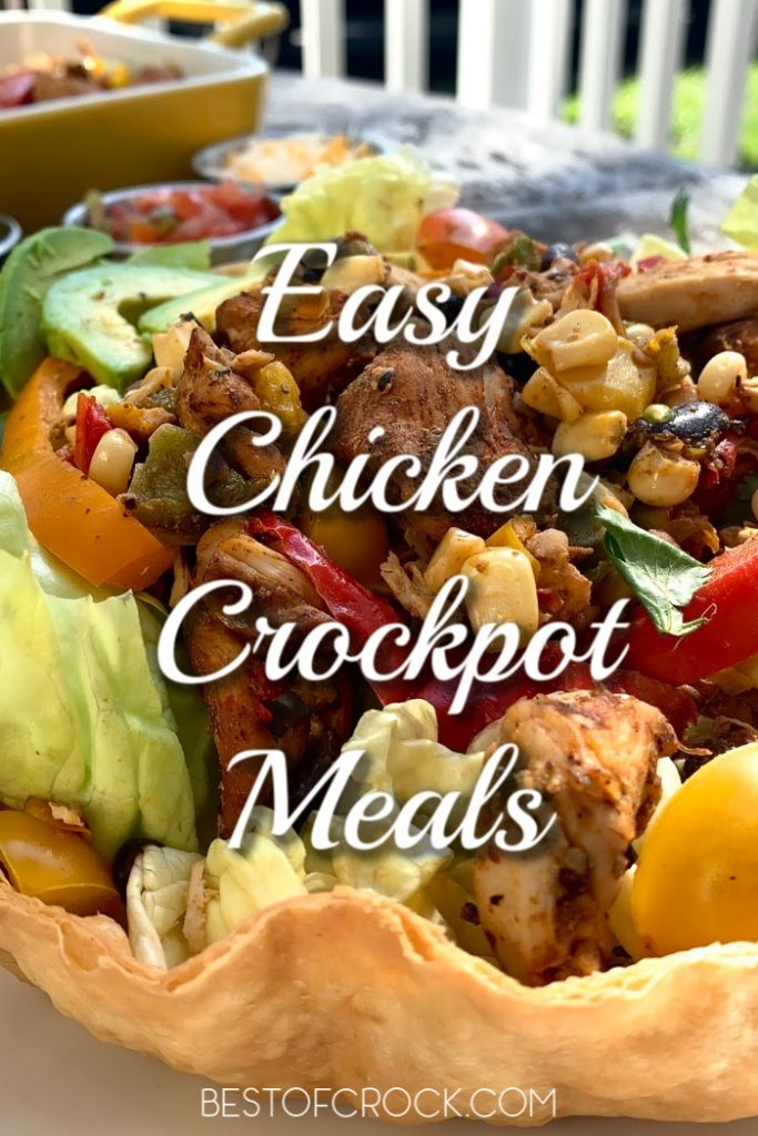 Treat your family and yourself to some easy crockpot meals with chicken that are delicious dinner recipes and help you save time in the kitchen! Chicken Dinner Ideas | Easy Dinner Recipes | Crockpot Chicken Ideas | Family Crockpot Dinner Recipes | Slow Cooker Dinner Recipes #crockpot #chickenrecipes #slowcooker #dinnerrecipes