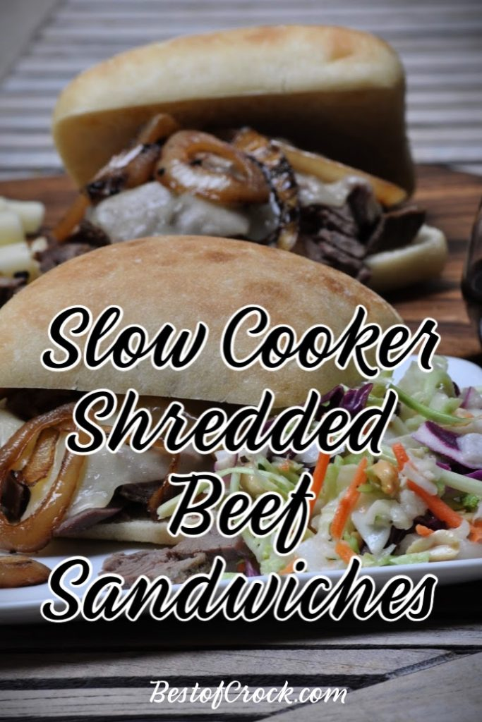 Slow cooker shredded beef sandwiches are easy to make for lunch or dinner and are a simple crockpot meal planning recipe the whole family can enjoy. Slow Cooker Beef Recipe | Crockpot Beef Recipes | Crockpot Lunch Recipes | Slow Cooker Dinner Recipes | Crockpot Sandwich Recipes #slowcooker #beef