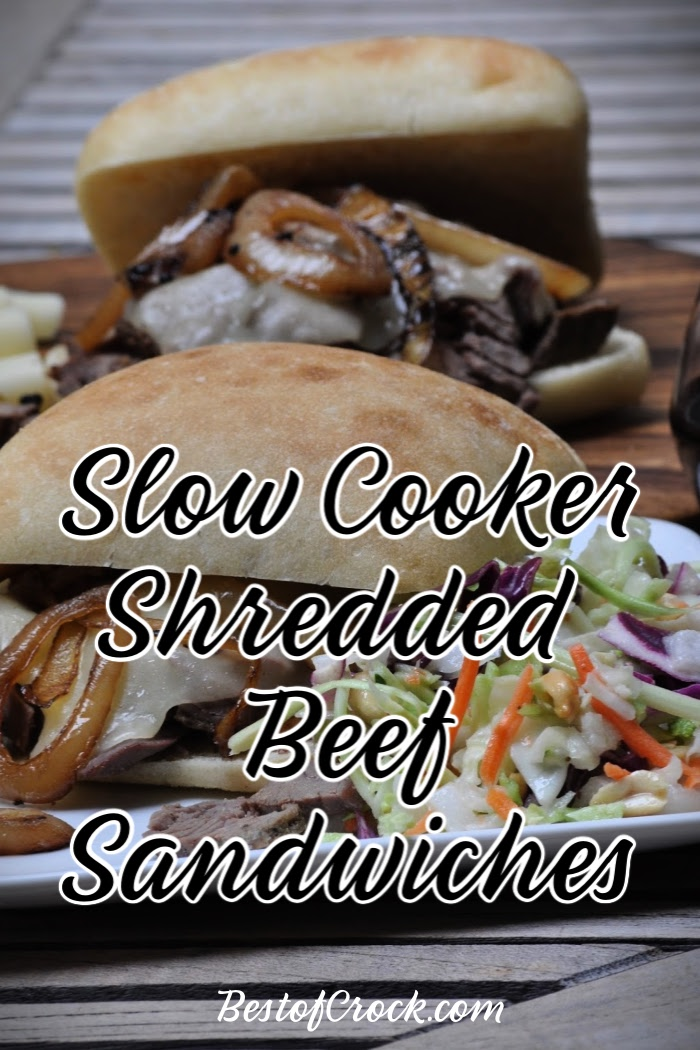 Slow cooker shredded beef sandwiches are easy to make for lunch or dinner and are a simple crockpot meal planning recipe the whole family can enjoy. Slow Cooker Beef Recipe | Crockpot Beef Recipes | Crockpot Lunch Recipes | Slow Cooker Dinner Recipes | Crockpot Sandwich Recipes #slowcooker #beef via @bestofcrock