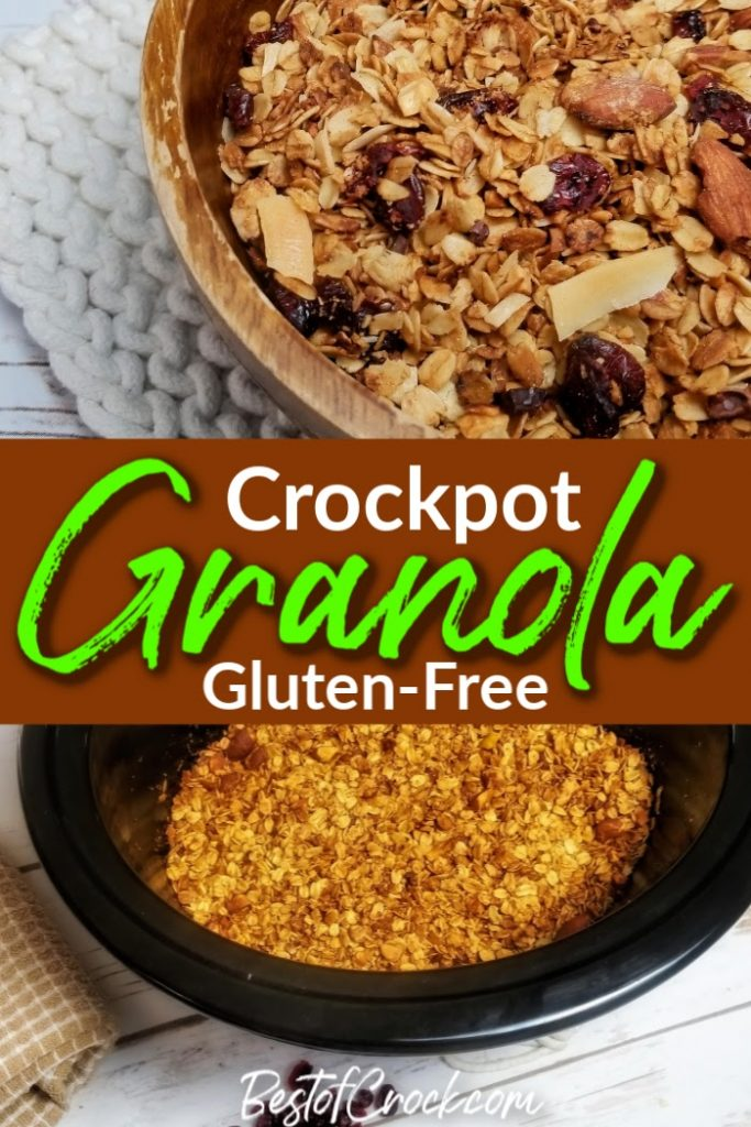 With this delicious homemade crockpot gluten free granola recipe can enjoy one of the healthiest snacks around without all of the additives. Crockpot Granola | Slow Cooker Granola Bars | Crockpot Oatmeal | Cherry Vanilla Almond Granola Recipe | Dairy Free Granola Recipe #crockpot #granola