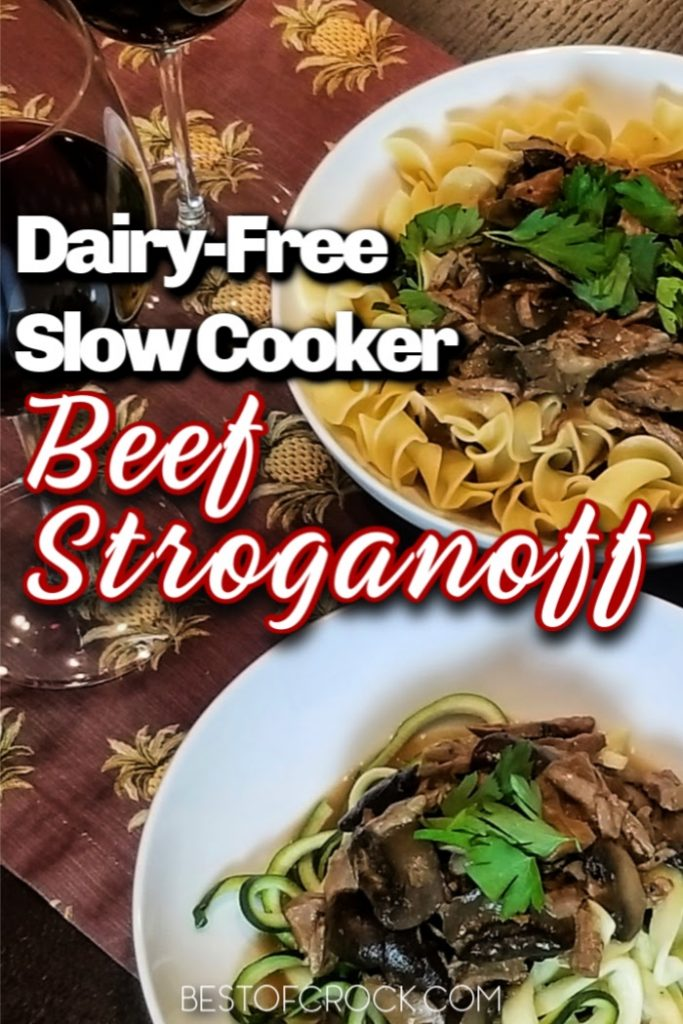 This dairy free slow cooker beef stroganoff recipe is so delicious you won't even know it does not have dairy! Add this easy crockpot recipe to your weekly meal plan! Dairy Free Mushroom Stroganoff | Gluten Free Beef Stroganoff Slow Cooker | Dairy Free Beef Recipes | Dairy Free Pasta Recipes | Dinner Recipes without Dairy | Crockpot Recipes without Dairy | Pasta Recipes Slow Cooker #slowcooker #dairyfree