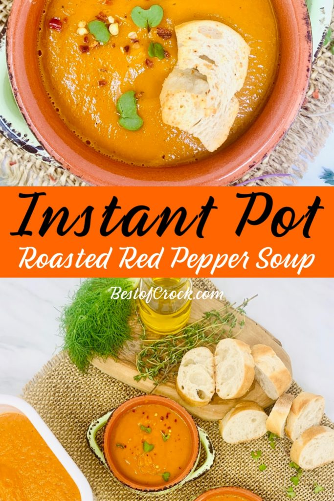 This easy Instant Pot roasted red pepper soup is a delicious Instant Pot soup recipe that everyone in the family will enjoy for dinner. Roasted Red Pepper Soup Vegan | How to Make Soup | Instant Pot Side Dish Recipe | Instant Pot Dinner Recipe | Instant Pot Lunch Recipe | Instant Pot Freezer Meal | Soup Ideas with Peppers | Instant Pot Soup Recipe #instantpot #soup