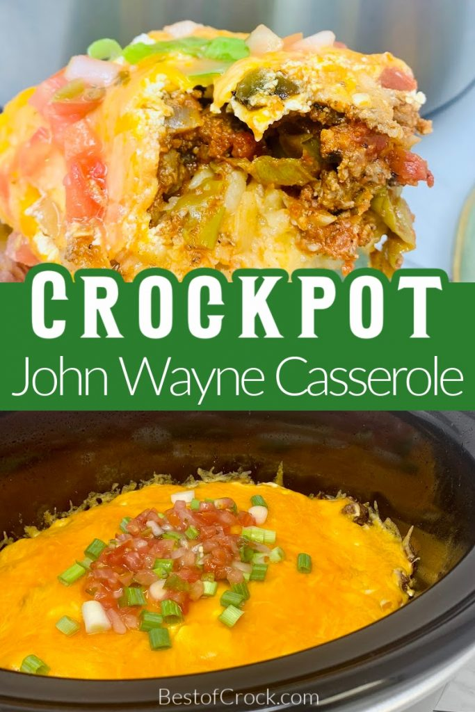 This delicious John Wayne casserole recipe is a classic and easy crockpot recipe to add to your meal plan for the week. John Wayne Potatoes | Cowboy Casserole | Slow Cooker Casserole Recipe | Crockpot Casserole Ingredients | Tater Tot Casserole #crockpot #casserole