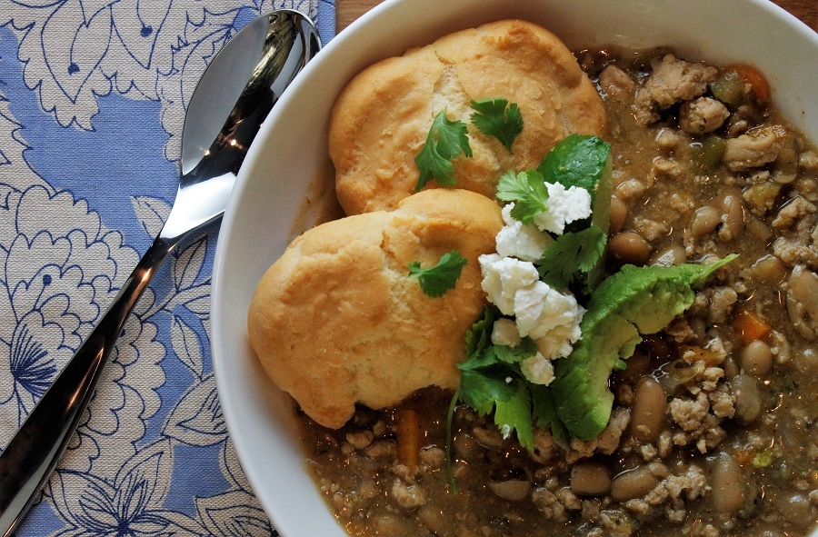 Crockpot Ground Chicken Chili Recipe Close Up of Bowl of Chili with Biscuits and Cilantro