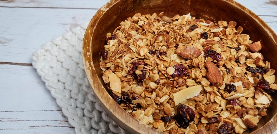 Crockpot Gluten Free Granola Recipe Close Up of a Bowl of Granola