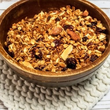 Crockpot Gluten Free Granola Recipe Overhead View of Granola in a Bowl