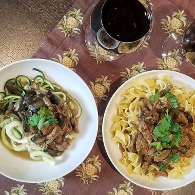 Dairy Free Slow Cooker Beef Stroganoff Two Bowls of Stroganoff with Wine Glasses
