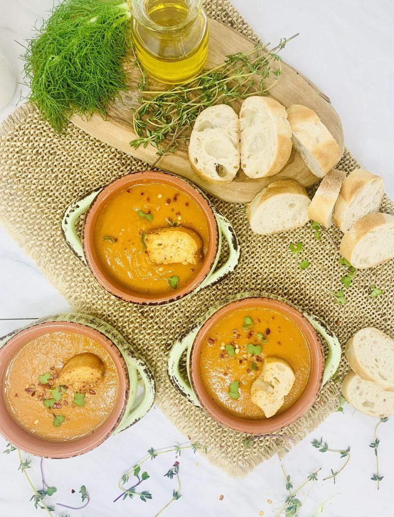 Instant Pot Roasted Red Pepper Soup Overhead View of Soup in Bowls with Bread