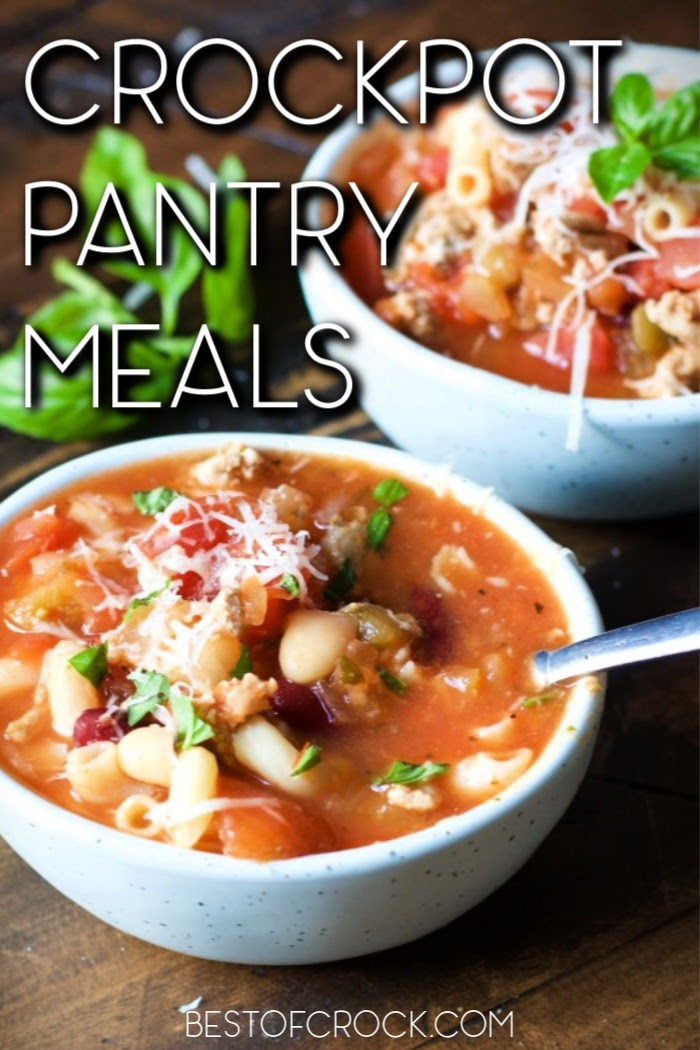 These family friendly crockpot pantry meals use ingredients you have in your kitchen already making them easy crockpot recipes everyone can enjoy. Slow Cooker Recipes | Crockpot Recipes for Two | Slow Cooker Dinner Recipes | Easy Dinner Recipes | Crockpot Lunch Recipes | Family Dinner Recipes | Quick Dinner Recipes | Kid-Friendly Pantry Meals | Pantry Meals for Emergencies #crockpot #slowcookerrecipes via @bestofcrock