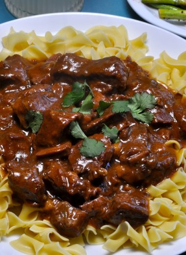 Slow Cooker Beef Stroganoff with French Onion Soup Overhead Shot of a Plate of Beef Stroganoff