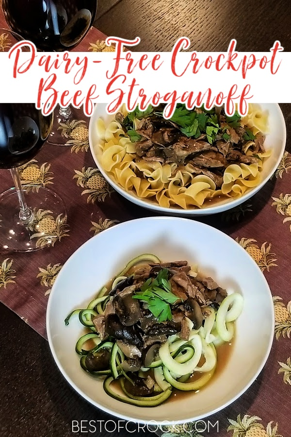 This dairy free slow cooker beef stroganoff recipe is so delicious you won't even know it does not have dairy! Add this easy crockpot recipe to your weekly meal plan! Dairy Free Mushroom Stroganoff | Gluten Free Beef Stroganoff Slow Cooker | Dairy Free Beef Recipes | Dairy Free Pasta Recipes | Dinner Recipes without Dairy | Crockpot Recipes without Dairy | Pasta Recipes Slow Cooker #slowcooker #dairyfree via @bestofcrock
