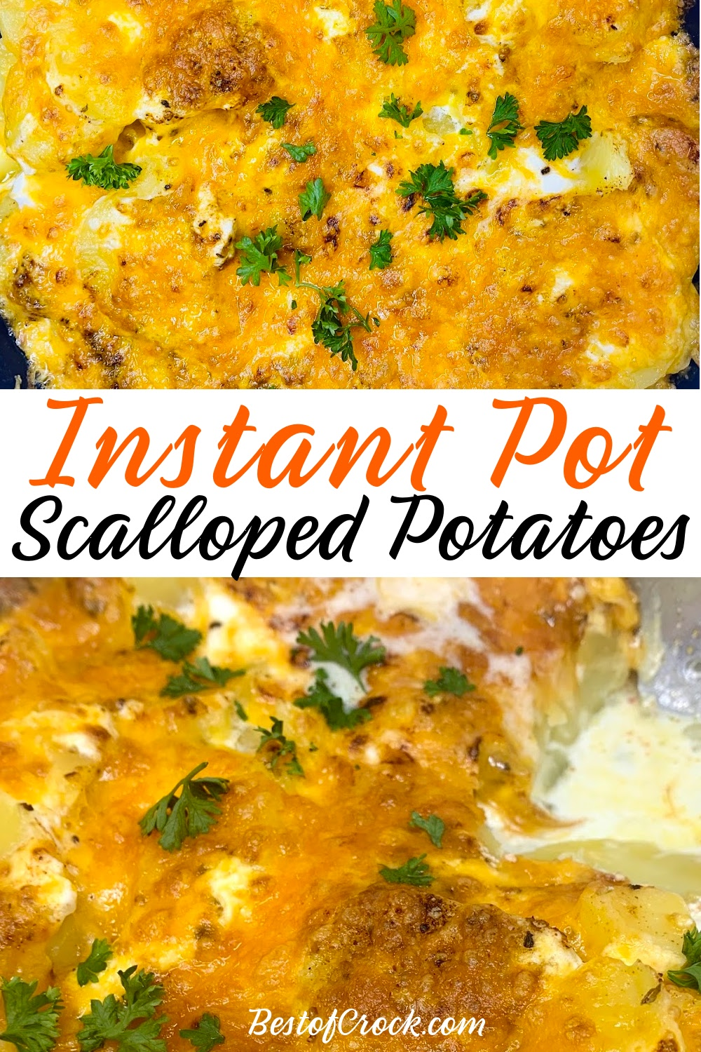 Instant Pot side dish recipes help make putting together a family dinner easier and this Instant Pot sour cream scalloped potatoes recipe will help for sure! Instant Pot Scalloped Potatoes with Sour Cream | Instant Pot Cheesy Potatoes | Instant Pot Side Dish Recipes | How to Make Scalloped Potatoes | Instant Pot BBQ Recipes | Instant Pot Potato Recipes | Party Side Dish Recipes #instantpot #potatoes via @bestofcrock