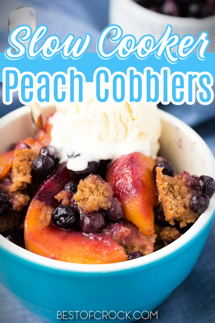 Slow cooker peach cobbler recipes make enjoying the classic southern recipes even easier with enhanced flavor and less work. Crockpot Peach Cobbler with Canned Peaches and Bisquick | Crockpot Peach Cobbler Dump Cake | Slow Cooker Peach Crisp | Peach Cobbler Recipes | Southern Dessert Recipes | Crockpot Dessert Recipes | Peach Cobbler with Cake Mix #crockpotrecipes #dessertrecipes via @bestofcrock