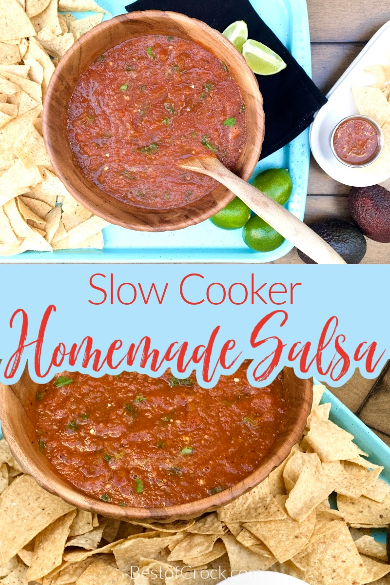 Homemade slow cooker salsa is so easy to make at home and is a great party dish. You can also use it as a delicious taco topping. Slow Roasted Salsa Recipe | Home Made Cooked Salsa | Cooked Salsa At Home | How to Make Salsa | Crockpot Party Recipe | Crockpot Dip Recipes | Slow Cooker Party Ideas #salsarecipe #slowcookerrecipes via @bestofcrock