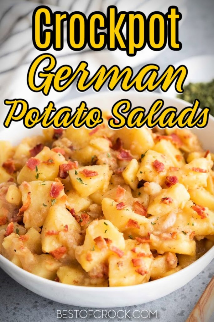 Crockpot German potato salad recipes might just end up being the best crockpot side dish with potatoes you have ever made! Hot Potato Salad | Crockpot Potato Salad | Hot German Potato Salad Celery | Crockpot Side Dish Recipes with Potatoes | Crockpot Recipes with Potatoes | Summer BBQ Side Dishes | BBQ Side Dish Recipes #crockpot #potatosalad