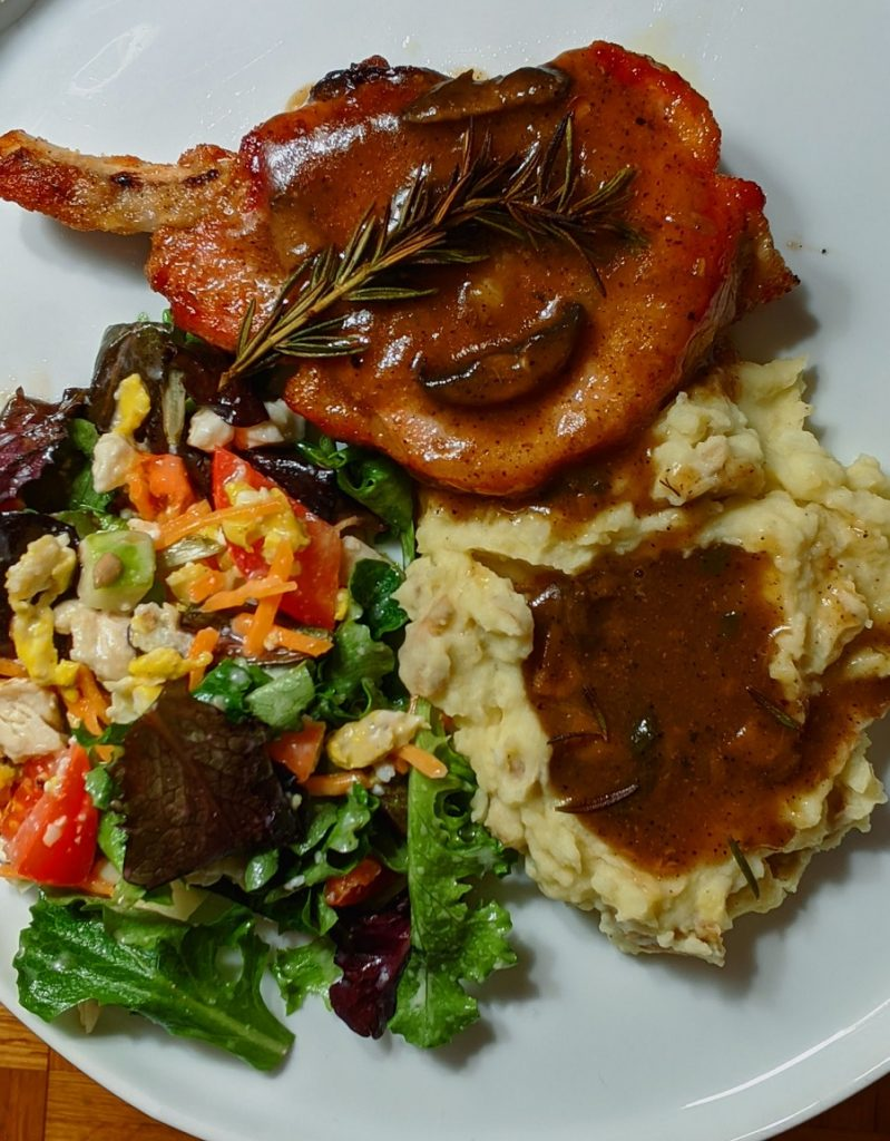 Easy Instant Pot Pork Chops Recipes Overhead View of Pork Chops with Sides on a Plate