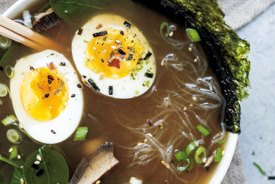 Instant Pot Bone Broth Recipes Bowl of Ramen with Broth