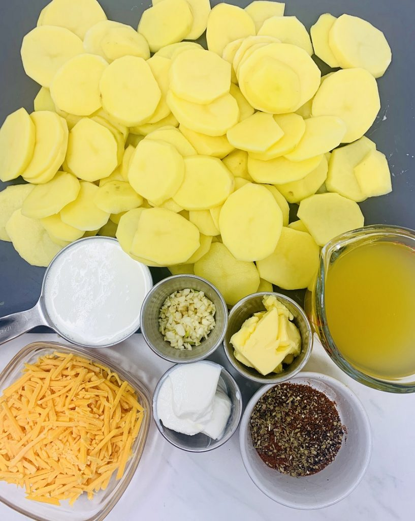 Instant Pot Sour Cream Scalloped Potatoes Overhead View of Ingredients