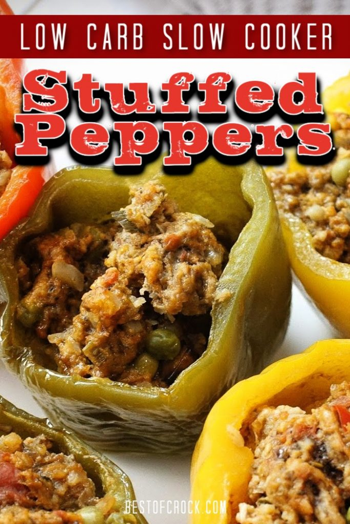 Low carb slow cooker stuffed peppers make the perfect crockpot recipe for your healthy diet that you can toss together with little effort. Stuffed Peppers with Cauliflower Rice | Low Carb Stuffed peppers Crockpot | Healthy Stuffed Peppers | Low Carb Crockpot Recipes | Crockpot Recipes with Beef | Low Carb Beef Recipes | Keto Crockpot Recipes | Keto Ground Beef Recipes #lowcarb #slowcooker
