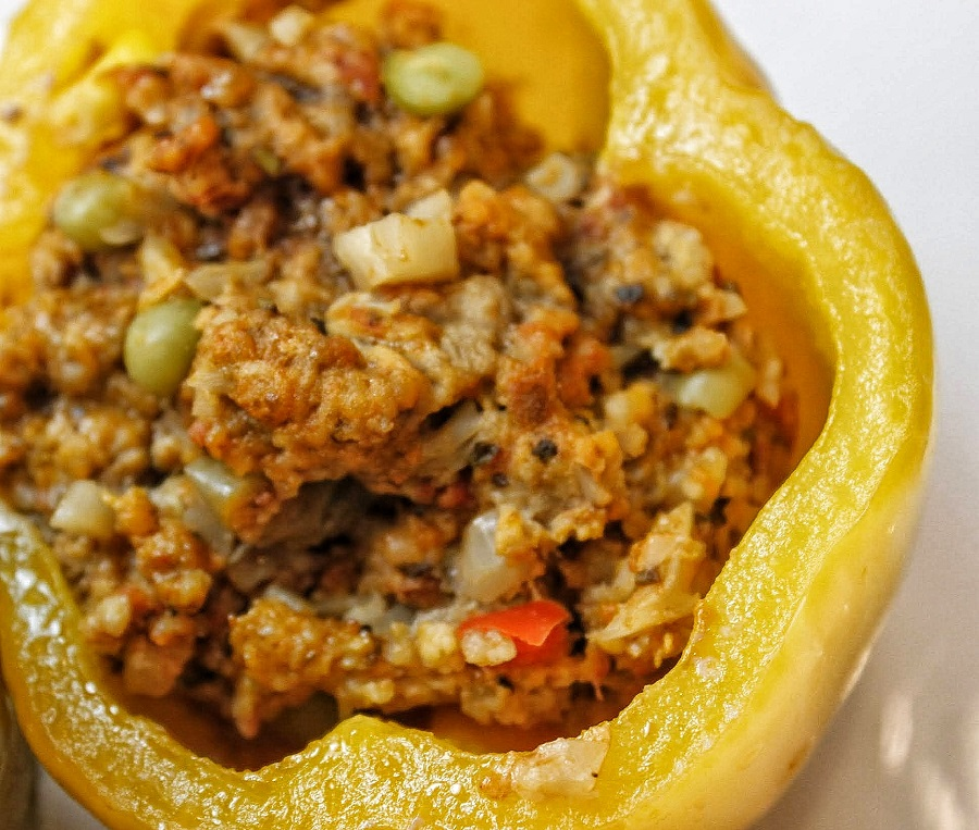 Low Carb Slow Cooker Stuffed Peppers Close Up of Yellow Pepper Stuffed with Ground Beef