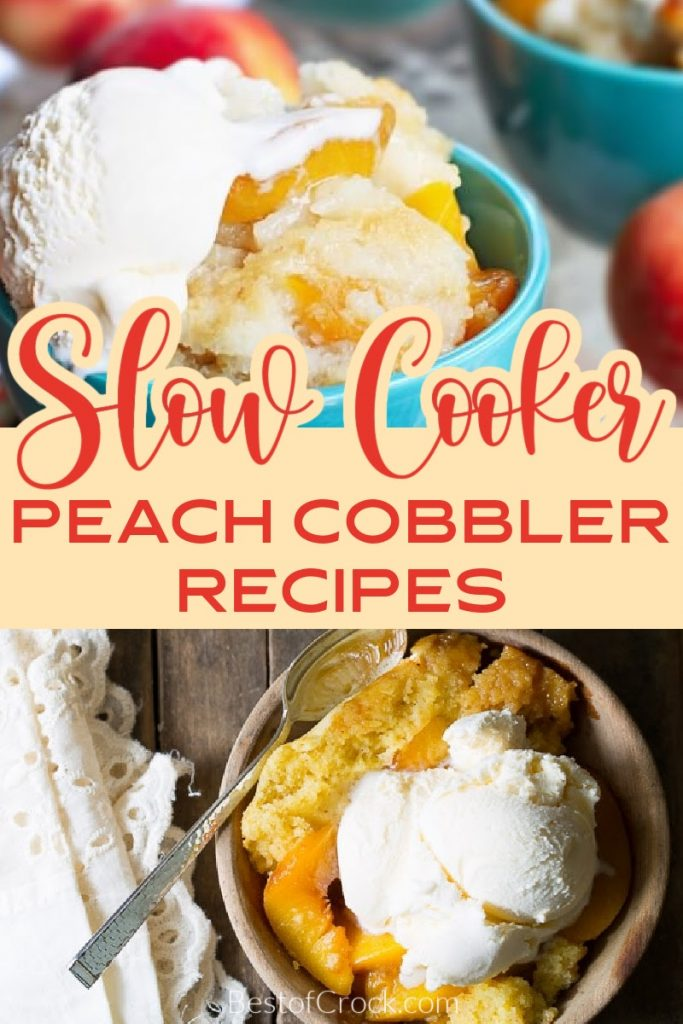 Slow cooker peach cobbler recipes make enjoying the classic southern recipes even easier with enhanced flavor and less work. Crockpot Peach Cobbler with Canned Peaches and Bisquick | Crockpot Peach Cobbler Dump Cake | Slow Cooker Peach Crisp | Peach Cobbler Recipes | Southern Dessert Recipes | Crockpot Dessert Recipes | Peach Cobbler with Cake Mix #crockpotrecipes #dessertrecipes