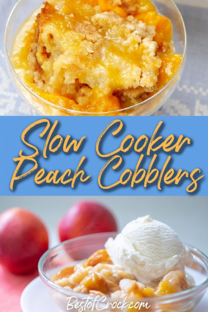 Slow cooker peach cobbler recipes make enjoying the classic southern recipes even easier with enhanced flavor and less work. Crockpot Peach Cobbler with Canned Peaches and Bisquick | Crockpot Peach Cobbler Dump Cake | Slow Cooker Peach Crisp | Peach Cobbler Recipes | Southern Dessert Recipes | Crockpot Dessert Recipes | Peach Cobbler with Cake Mix #slowcooker #dessert