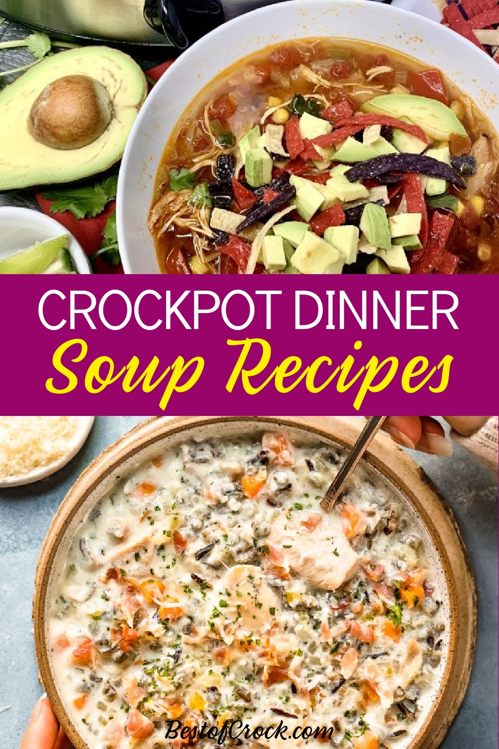 Crockpot soup dinner ideas can vary but they always help with meal planning for the week and result in a delicious bowl of soup each and every time. Slow Cooker Soup Recipes | Crockpot Soup Recipes | Crockpot Soup Recipes with Chicken | Healthy Slow Cooker Soup Recipes | Crockpot Potato Soup | Slow Cooker Beef Soup Recipes | Veggie Soup Recipes #soup #crockpot via @bestofcrock