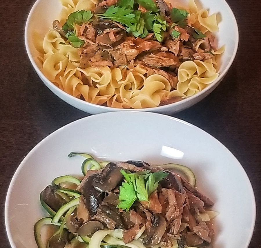 Easy Crock Pot Beef Stroganoff Recipes Two Plates One with Zoodles and One with Pasta