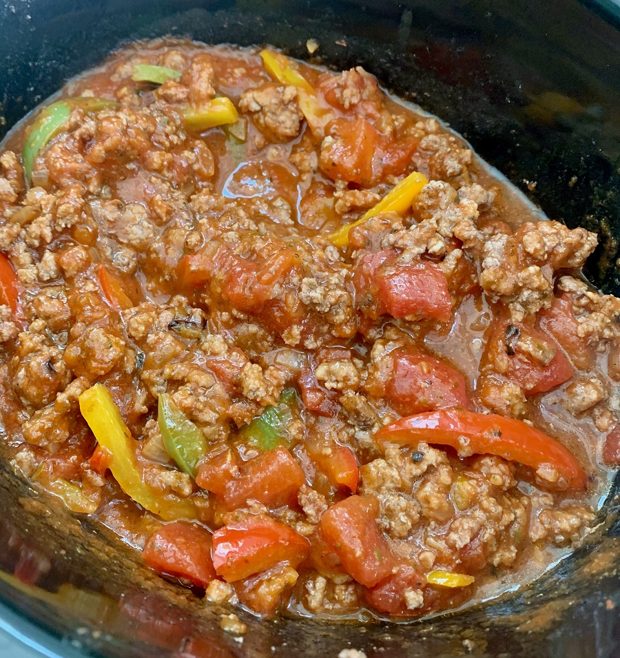 Crockpot Beef with Brown Rice and Vegetables Ingredients Cooking in a Crockpot