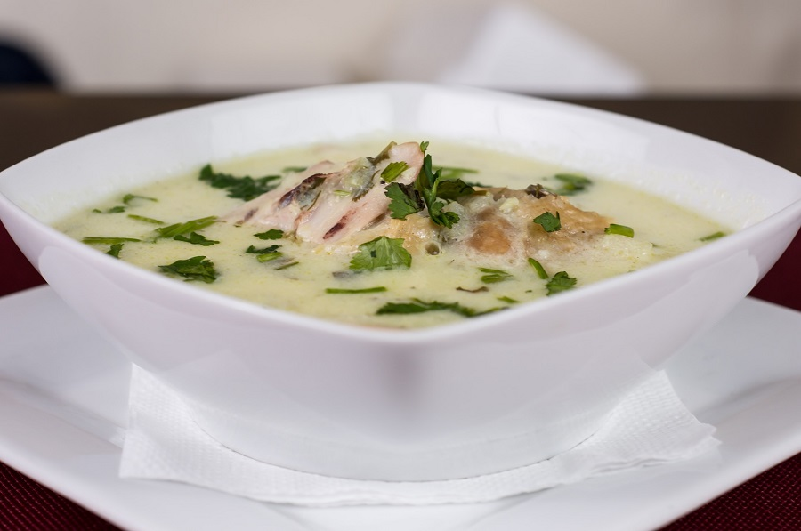 Healthy Instant Pot Chicken Soup Recipes White Squar Bowl Filled with Creamy Soup