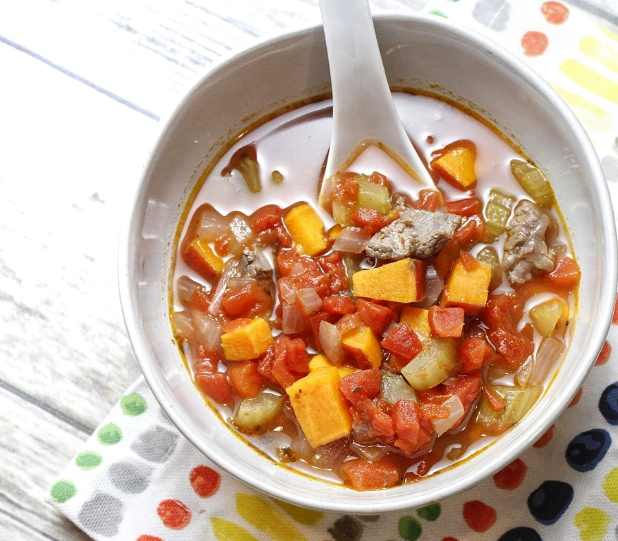 Healthy Instant Pot Vegetable Beef Soup Overhead View of Soup in a White Bowl