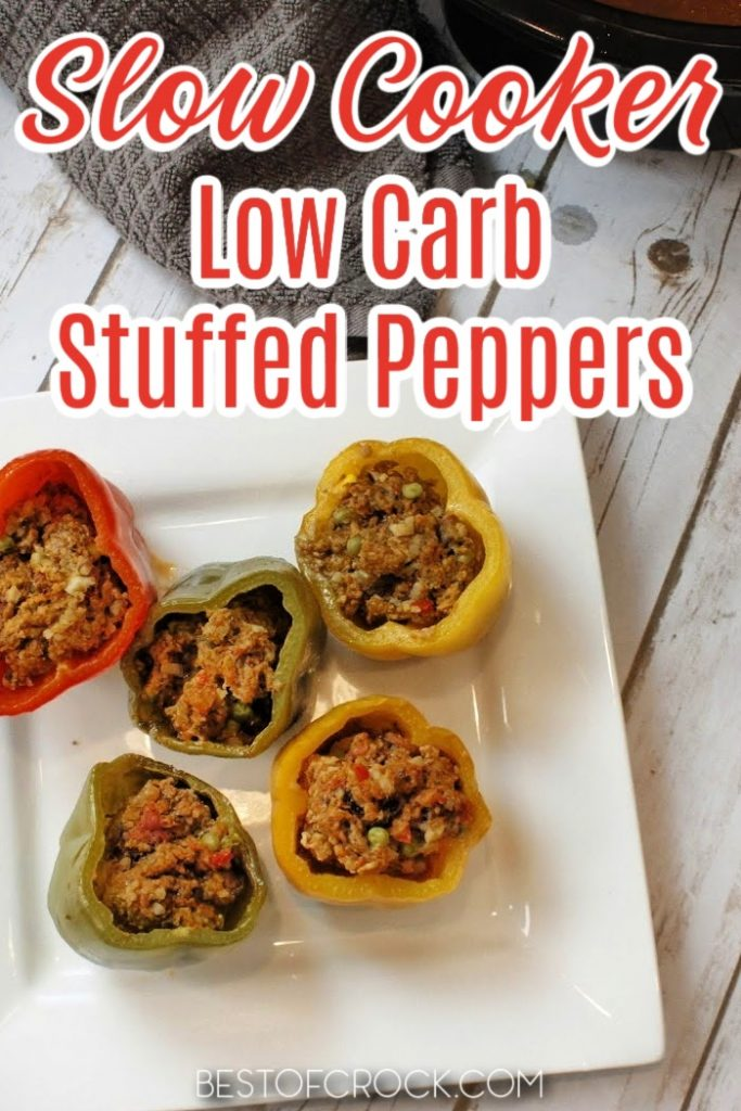 Low carb slow cooker stuffed peppers make the perfect crockpot recipe for your healthy diet that you can toss together with little effort. Stuffed Peppers with Cauliflower Rice   Low Carb Stuffed peppers Crockpot   Healthy Stuffed Peppers   Low Carb Crockpot Recipes   Crockpot Recipes with Beef   Low Carb Beef Recipes   Keto Crockpot Recipes   Keto Ground Beef Recipes #lowcarb #slowcooker