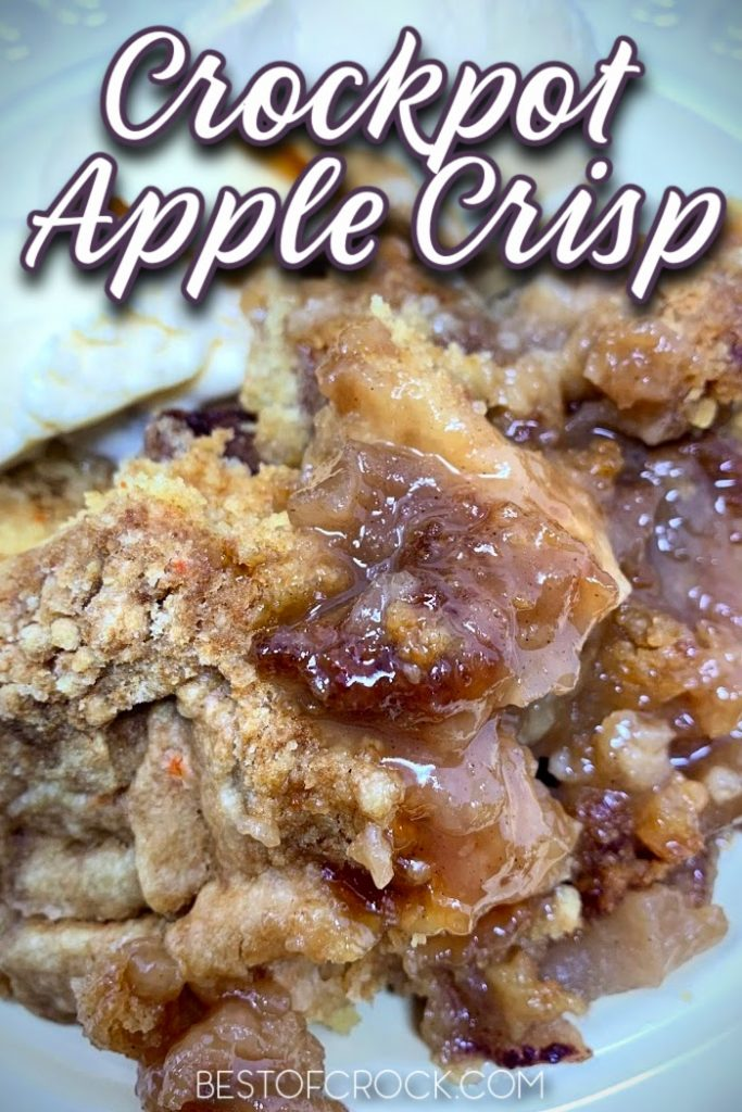 Making an apple crisp is easier when you use this easy crockpot apple crisp with cake mix recipe that is filled with flavor. Slow Cooker Apple Crisp Recipe | Crockpot Dessert Recipe | Slow Cooker Dessert Recipe | Crockpot Recipes with Apples | Apple Crisp without Oats | Cake Mix Apple Crisp #dessert #crockpot