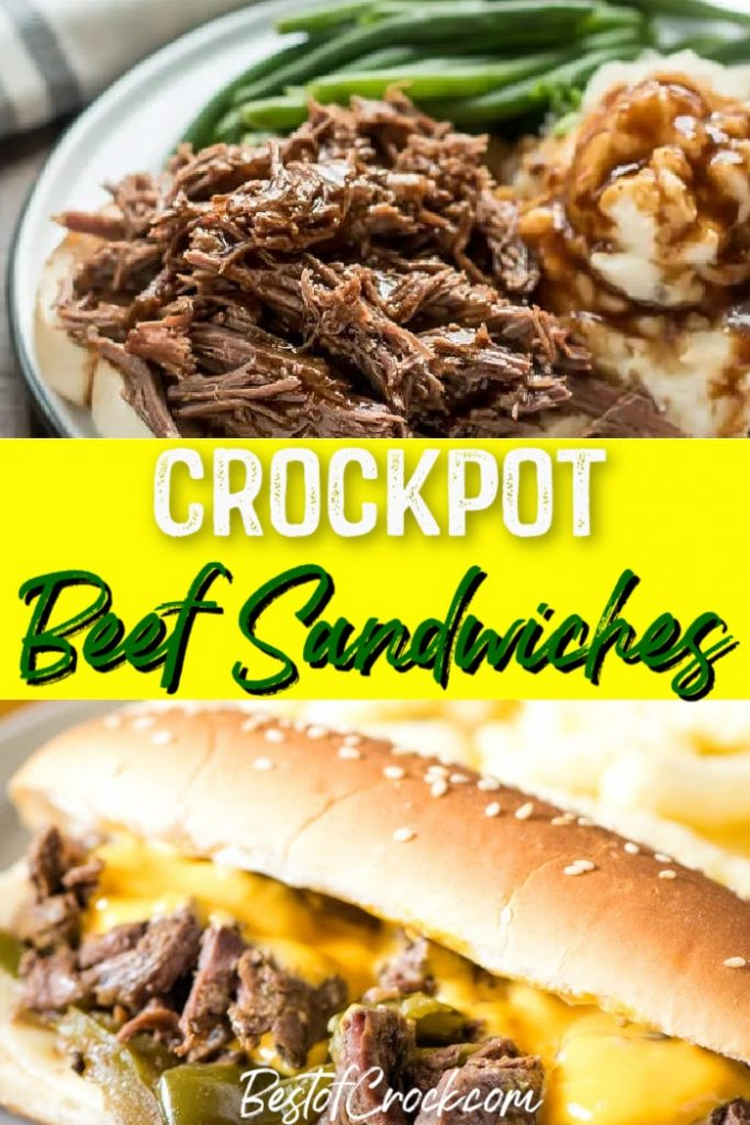 Make these easy crockpot beef sandwich recipes for a delicious lunch or dinner everyone in the family will enjoy. Crockpot Philly Cheesesteak Recipe | Crockpot Roast Beef Sandwich | Slow Cooker Italian Beef Sandwiches | Crockpot French Dip Sandwiches | Crockpot Recipes with Beef | Easy Lunch Recipes | Easy Dinner Ideas #beef #crockpotrecipes