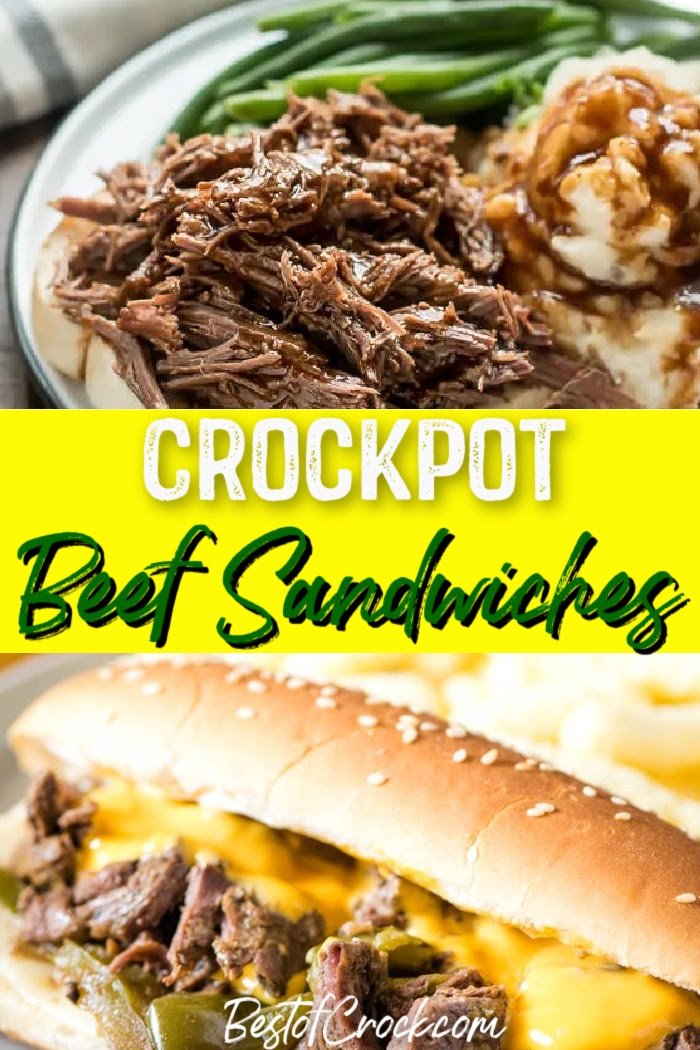 Make these easy crockpot beef sandwich recipes for a delicious lunch or dinner everyone in the family will enjoy. Crockpot Philly Cheesesteak Recipe | Crockpot Roast Beef Sandwich | Slow Cooker Italian Beef Sandwiches | Crockpot French Dip Sandwiches | Crockpot Recipes with Beef | Easy Lunch Recipes | Easy Dinner Ideas #beef #crockpotrecipes via @bestofcrock