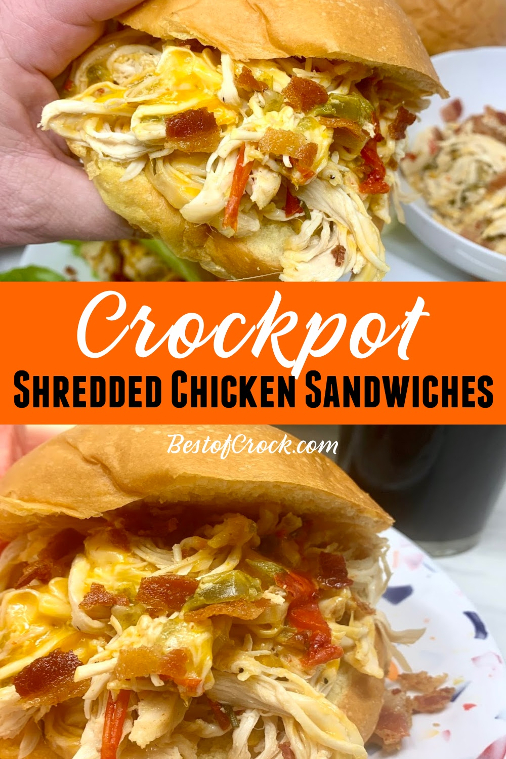 These crockpot shredded chicken sandwiches are easy and perfect for a quick lunch or dinner. You can also use the chicken as a salad topper making it a healthy crockpot recipe as well. Crockpot Shredded Chicken Recipes Easy | Slow Cooker Chicken Recipes | Dinner Recipes with Chicken | Crockpot Sandwiches with Chicken | Chicken and Bacon Recipe | Crockpot Dinner Recipes with Chicken #chicken #crockpot via @bestofcrock