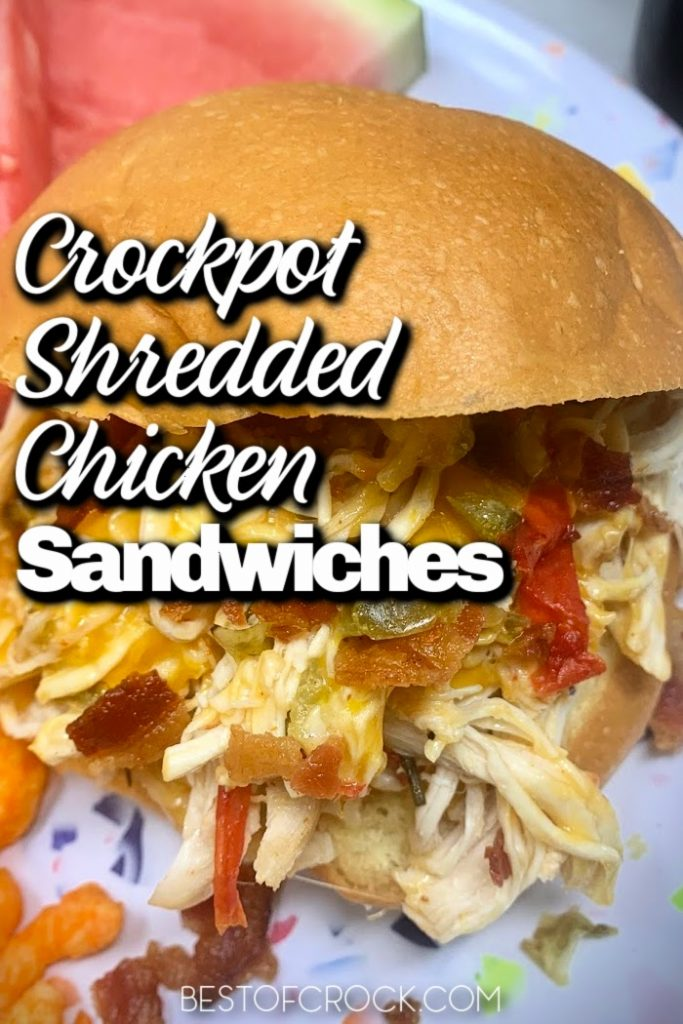 These crockpot shredded chicken sandwiches are easy and perfect for a quick lunch or dinner.  You can also use the chicken as a salad topper making it a healthy crockpot recipe as well. Crockpot Shredded Chicken Recipes Easy | Slow Cooker Chicken Recipes | Dinner Recipes with Chicken | Crockpot Sandwiches with Chicken | Chicken and Bacon Recipe | Crockpot Dinner Recipes with Chicken #chicken #crockpot