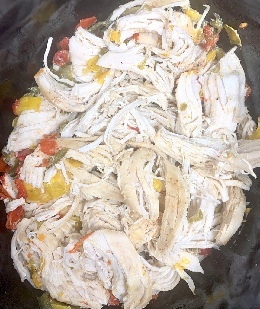 Crockpot Shredded Chicken Sandwiches Finished Chicken in a Crockpot