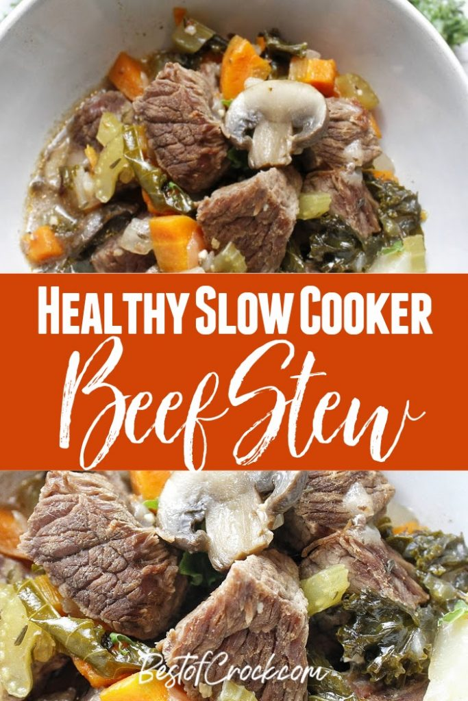 The flavors in this healthy slow cooker beef stew recipe will fill your home with the smells of a delicious home cooked dinner. Beef Stew Crockpot Clean Eating | Beef Stew Crockpot Low Carb | Healthy Crockpot Recipes with Beef | Slow Cooker Recipes with Beef | Healthy Beef Recipe | Beef Crockpot Recipes | Easy Dinner Ideas #slowcooker #beef